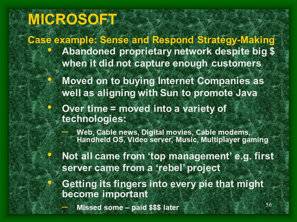 MICROSOFT Case example: Sense and Respond Strategy-Making