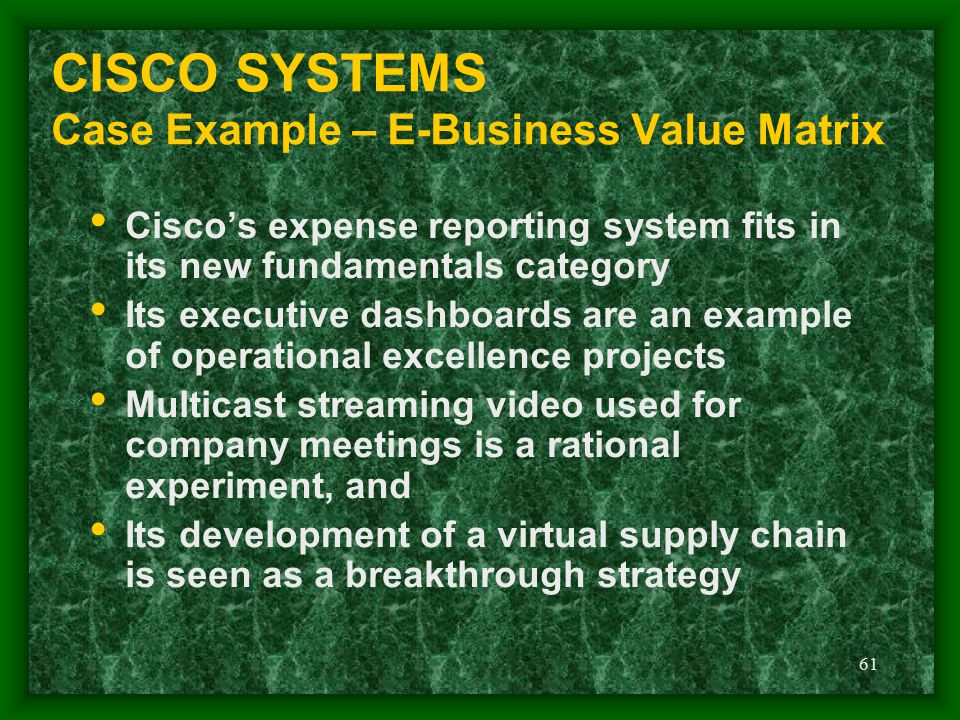 CISCO SYSTEMS Case Example – E-Business Value Matrix