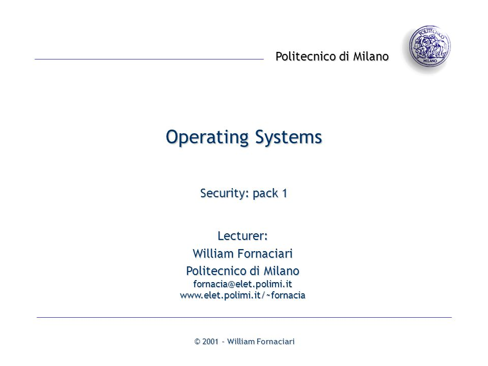 Operating Systems Security: pack 1