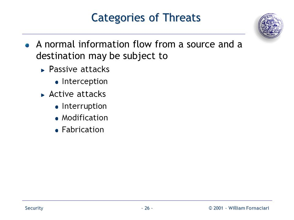 Categories of Threats A normal information flow from a source and a destination may be subject to. Passive attacks.