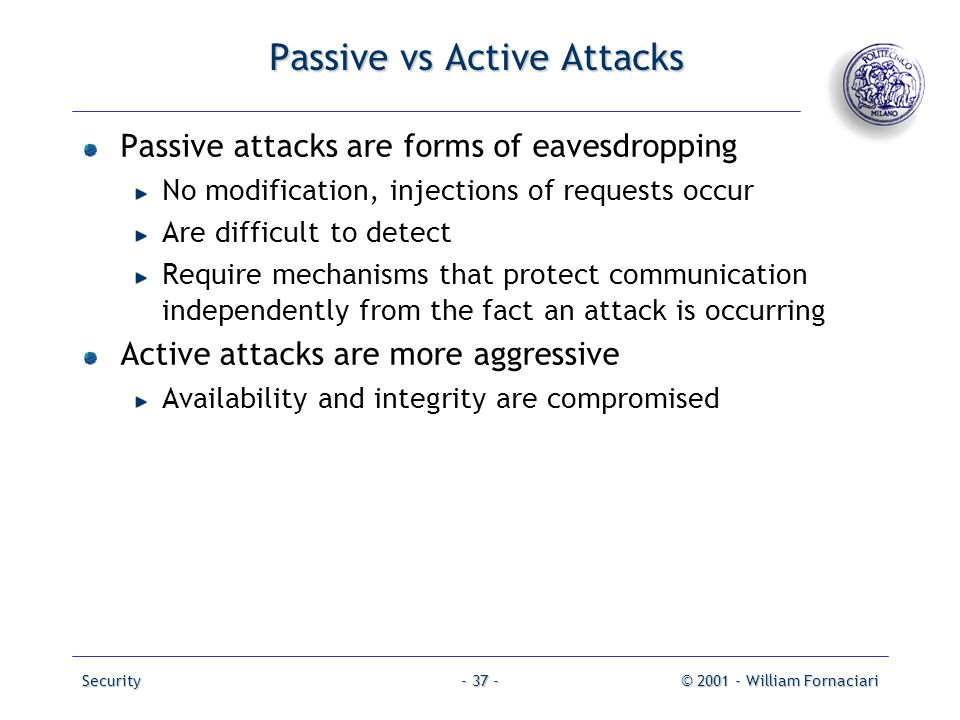 Passive vs Active Attacks