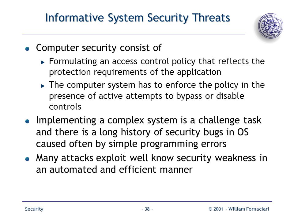 Informative System Security Threats
