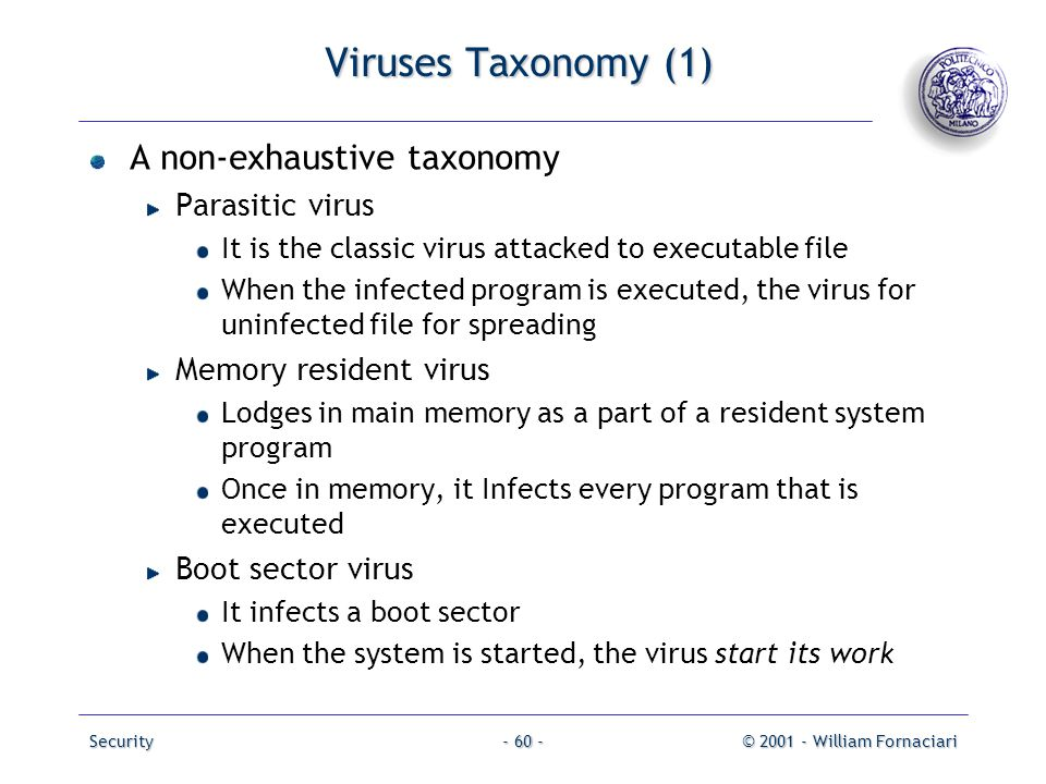 Viruses Taxonomy (1) A non-exhaustive taxonomy Parasitic virus