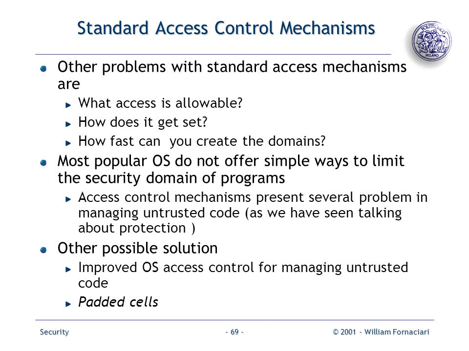 Standard Access Control Mechanisms