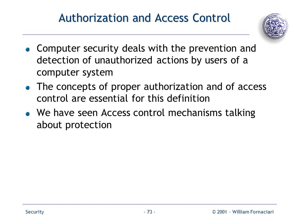 Authorization and Access Control