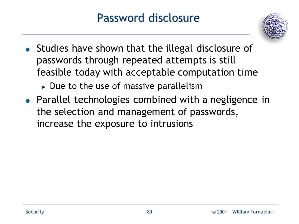 Password disclosure