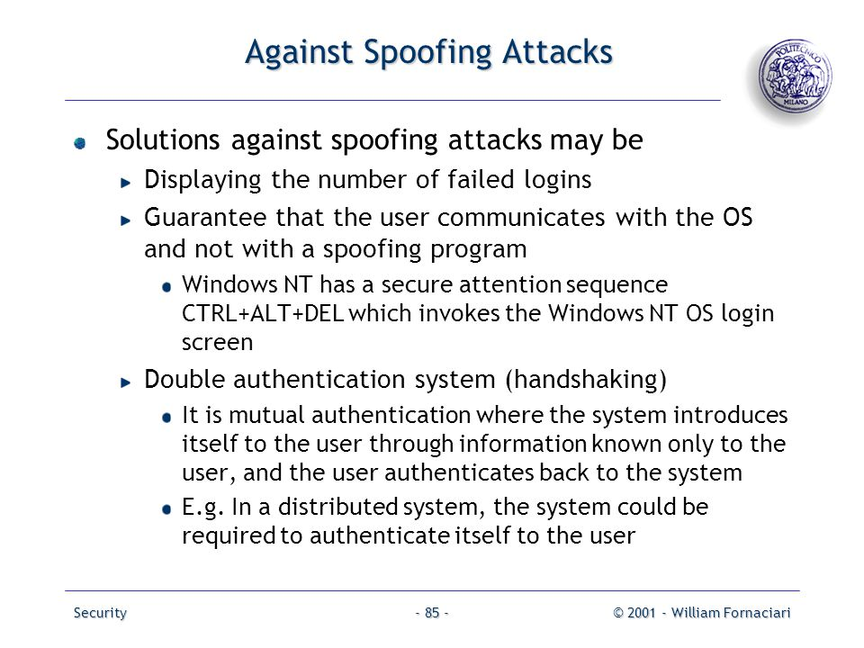 Against Spoofing Attacks