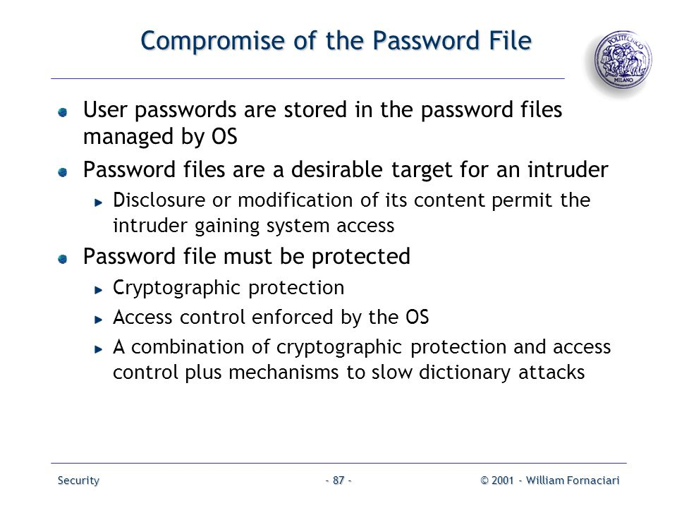 Compromise of the Password File