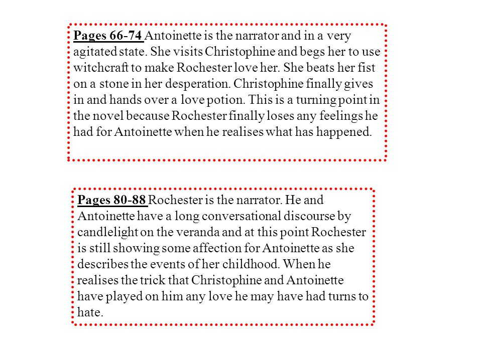 Pages 66-74 Antoinette is the narrator and in a very agitated state