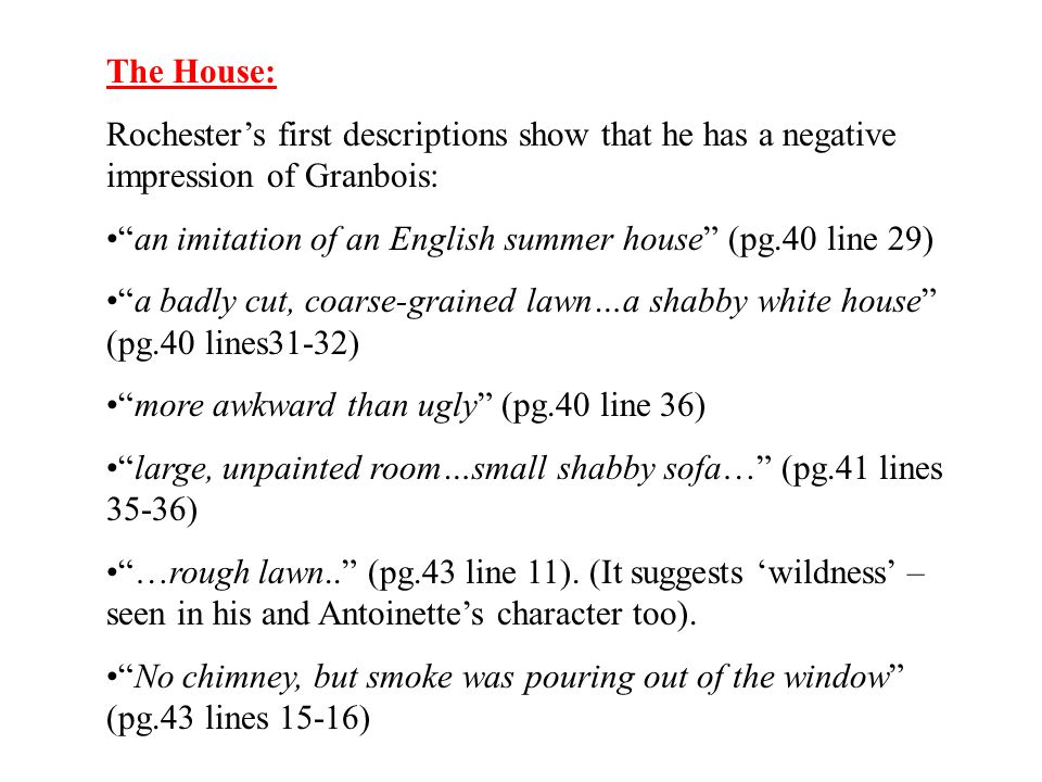The House: Rochester's first descriptions show that he has a negative impression of Granbois:
