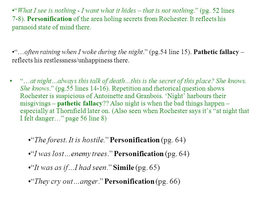 The forest. It is hostile. Personification (pg. 64)