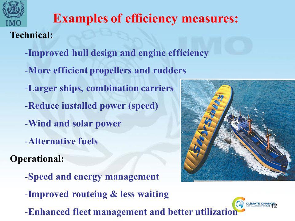 Examples of efficiency measures: