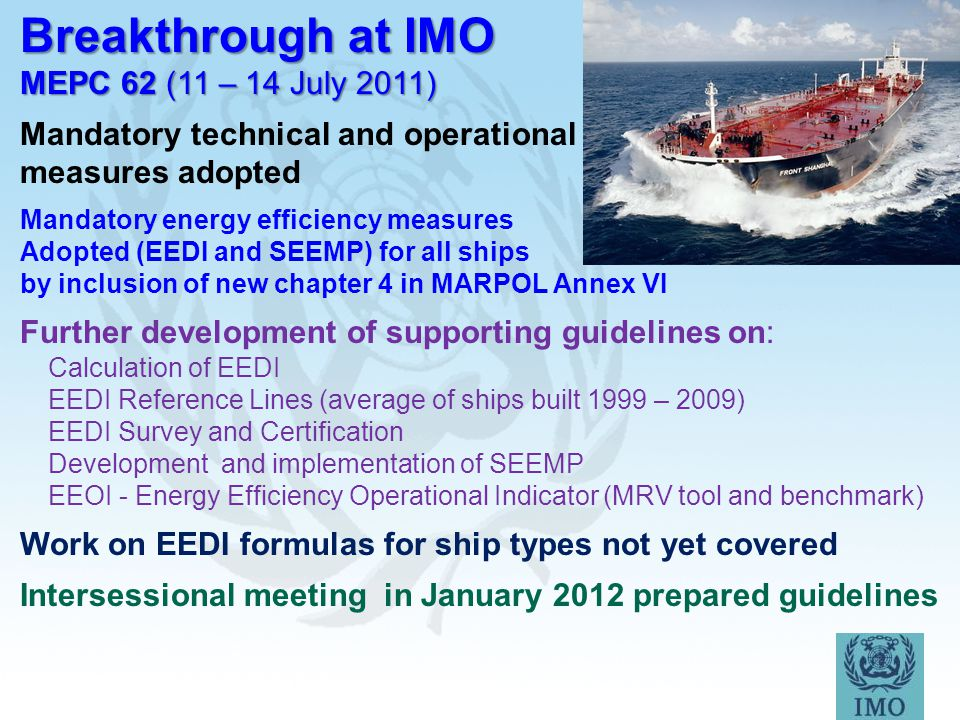Breakthrough at IMO MEPC 62 (11 – 14 July 2011)