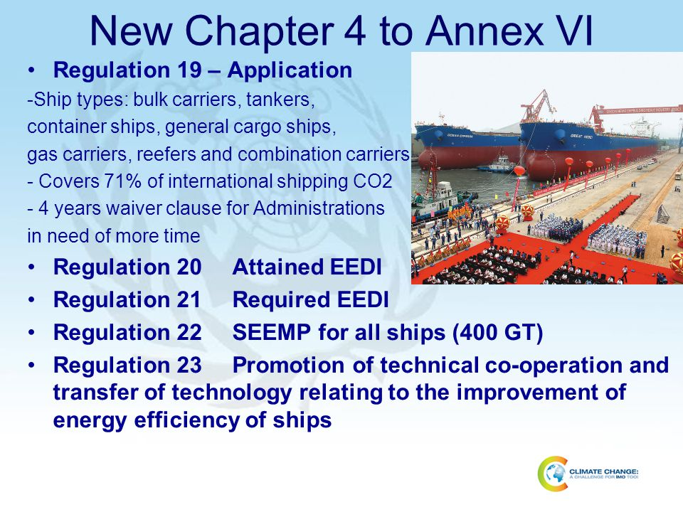 New Chapter 4 to Annex VI Regulation 19 – Application