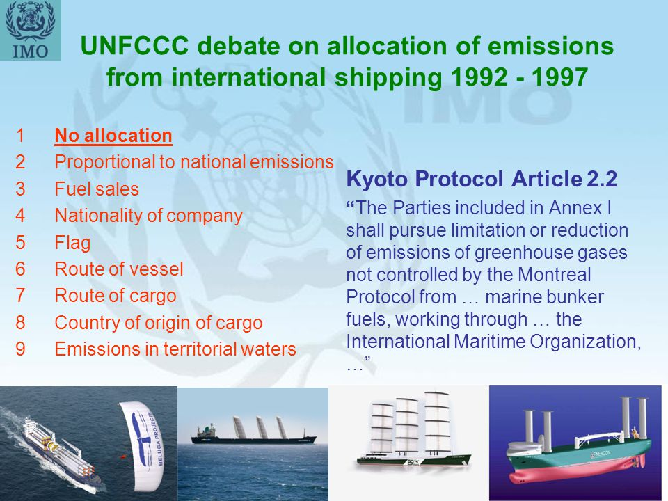 UNFCCC debate on allocation of emissions from international shipping 1992 - 1997