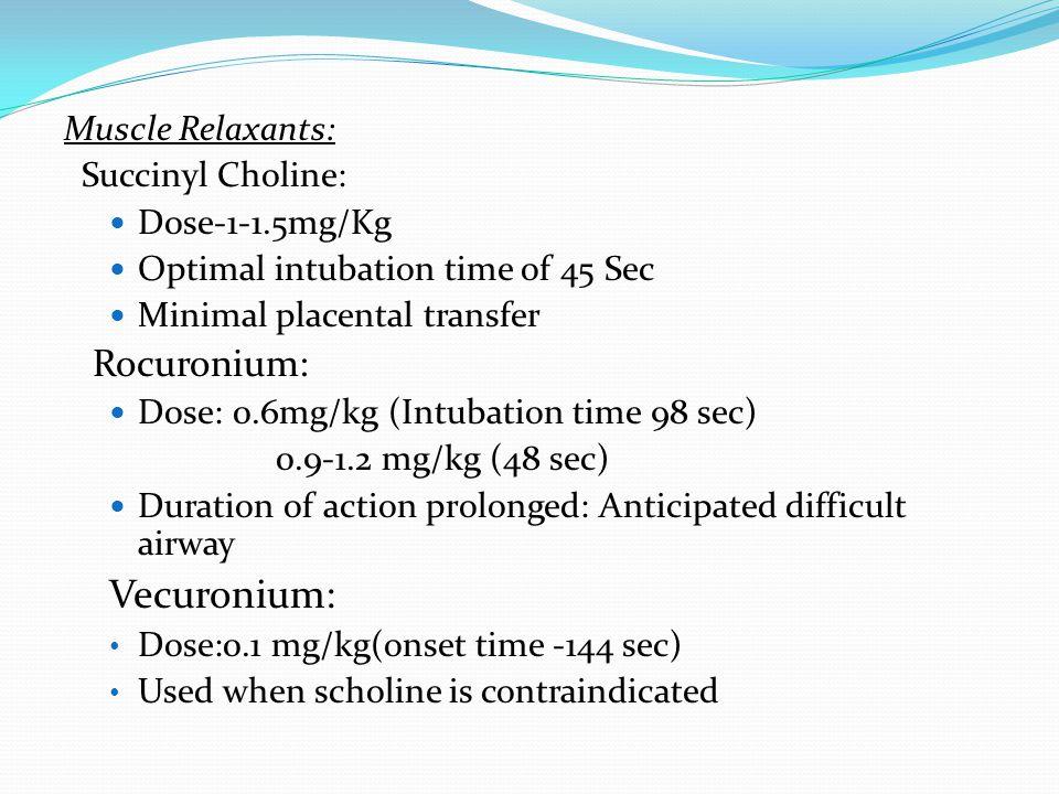 Vecuronium: Rocuronium: Muscle Relaxants: Succinyl Choline: