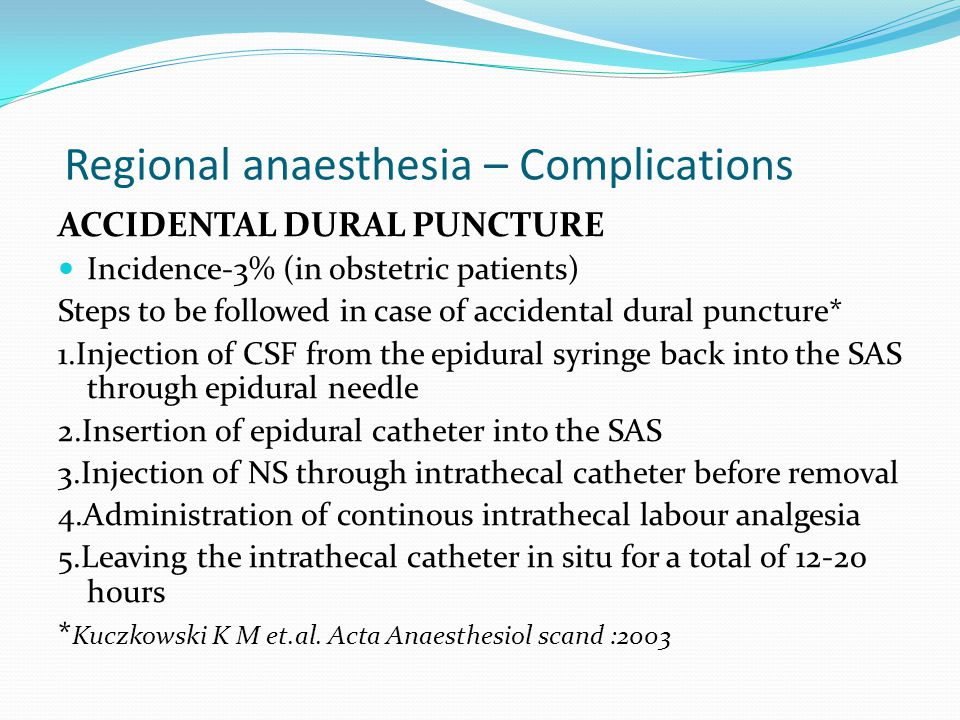 Regional anaesthesia – Complications