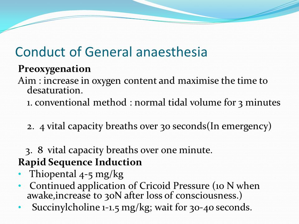 Conduct of General anaesthesia