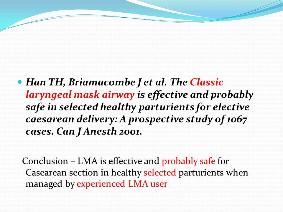 Han TH, Briamacombe J et al