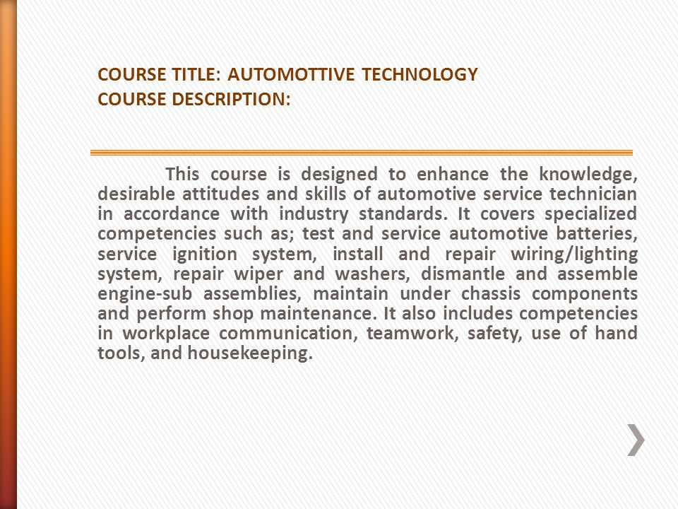 COURSE TITLE: AUTOMOTTIVE TECHNOLOGY
