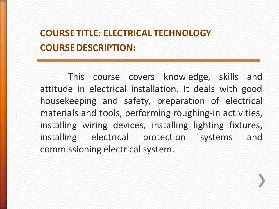 COURSE TITLE: ELECTRICAL TECHNOLOGY