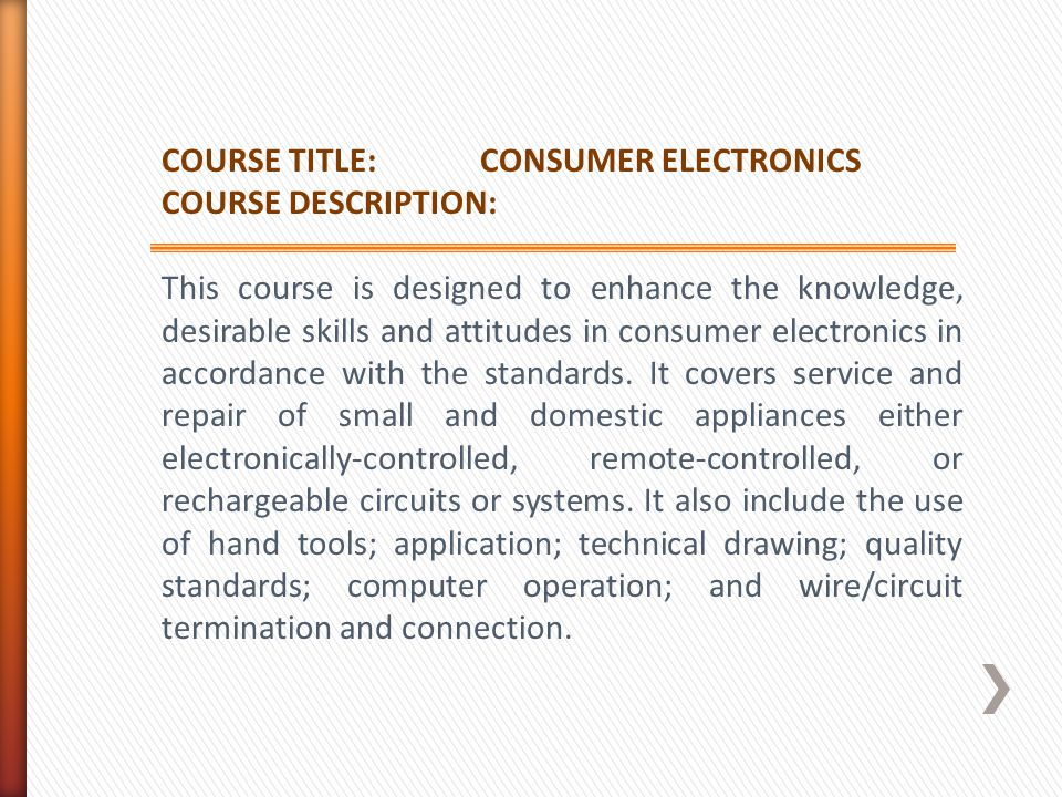 COURSE TITLE: CONSUMER ELECTRONICS