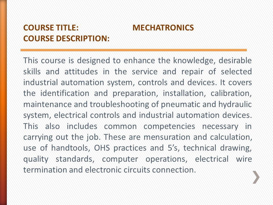 COURSE TITLE: MECHATRONICS