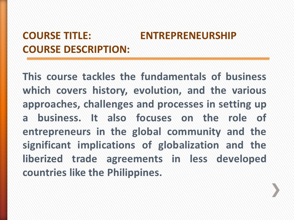 COURSE TITLE: ENTREPRENEURSHIP