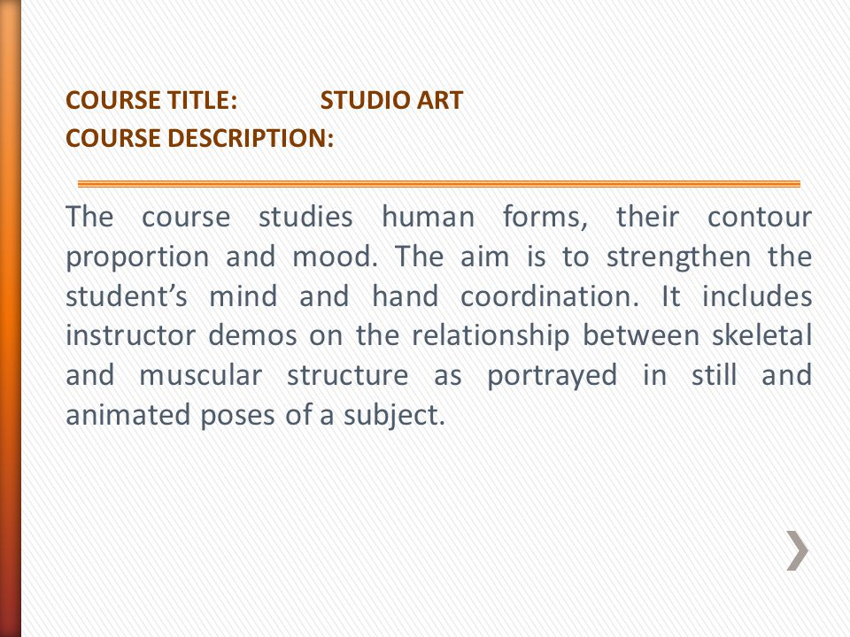 COURSE TITLE: STUDIO ART