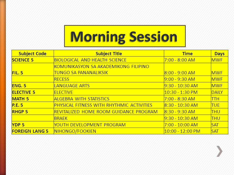 Morning Session Subject Code Subject Title Time Days SCIENCE 5