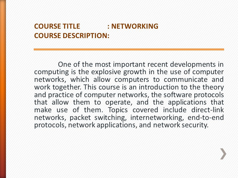 COURSE TITLE : NETWORKING