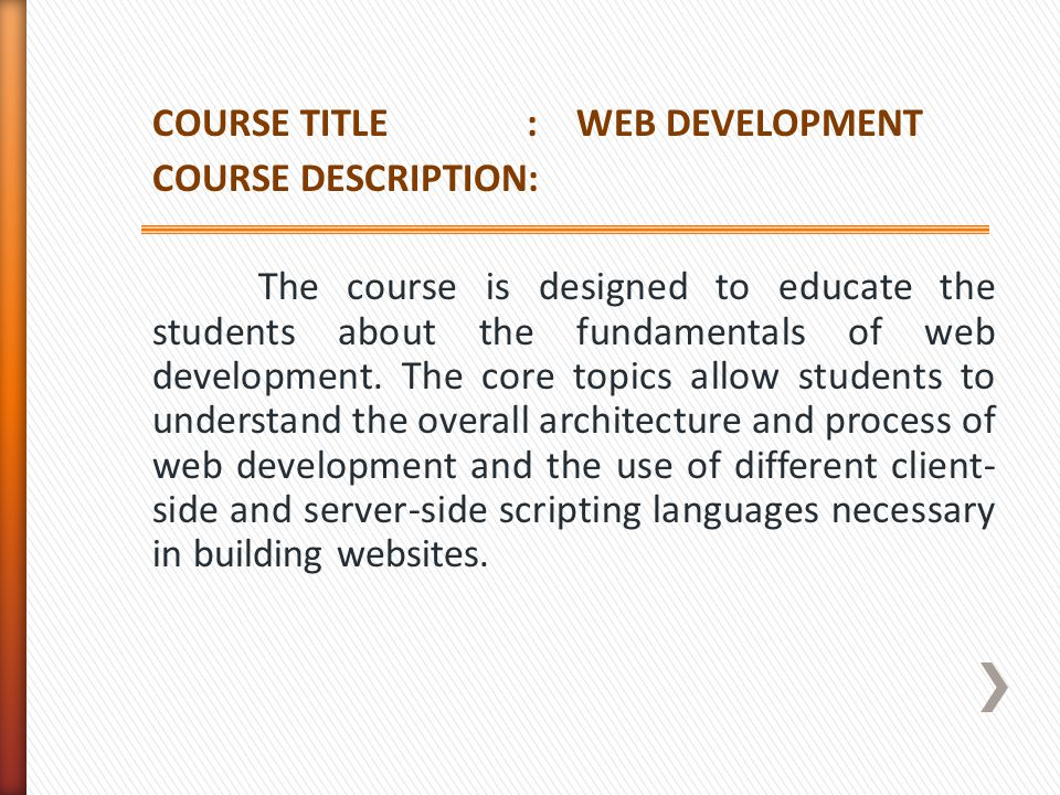 COURSE TITLE : WEB DEVELOPMENT