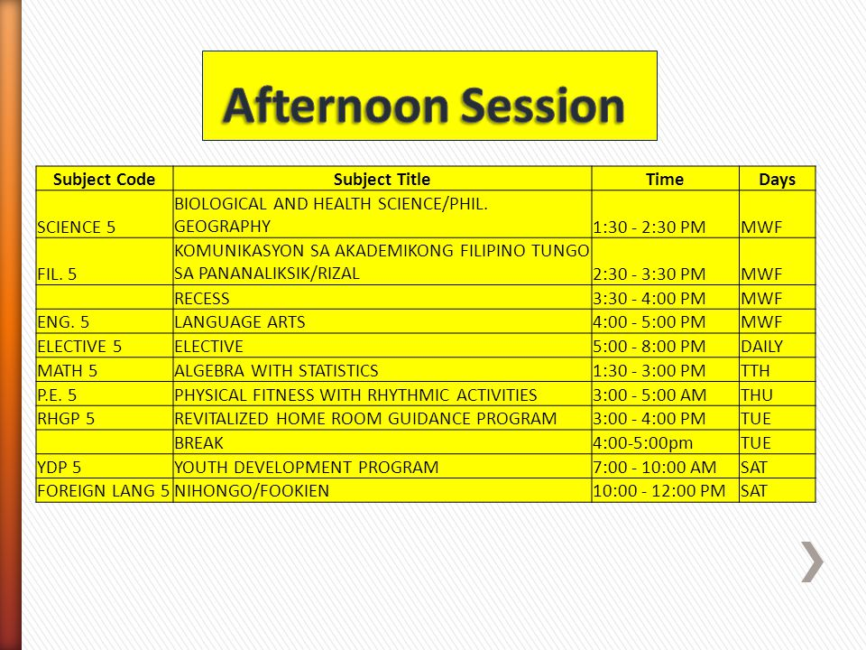 Afternoon Session Subject Code Subject Title Time Days SCIENCE 5