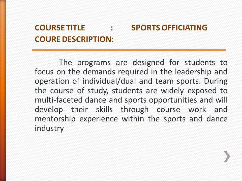 COURSE TITLE : SPORTS OFFICIATING