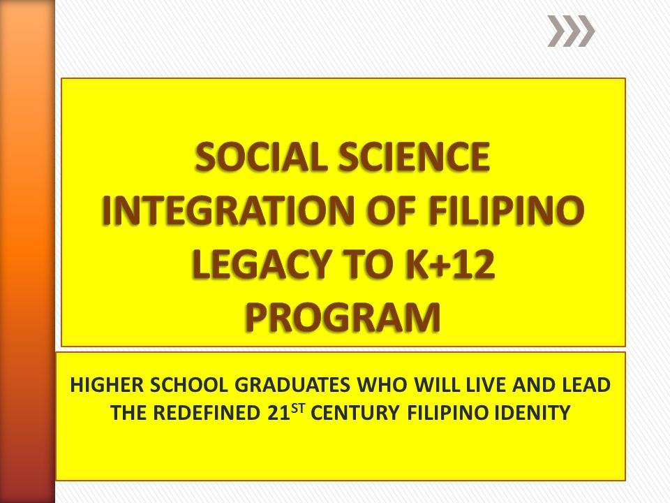 SOCIAL SCIENCE INTEGRATION OF FILIPINO LEGACY TO K+12 PROGRAM