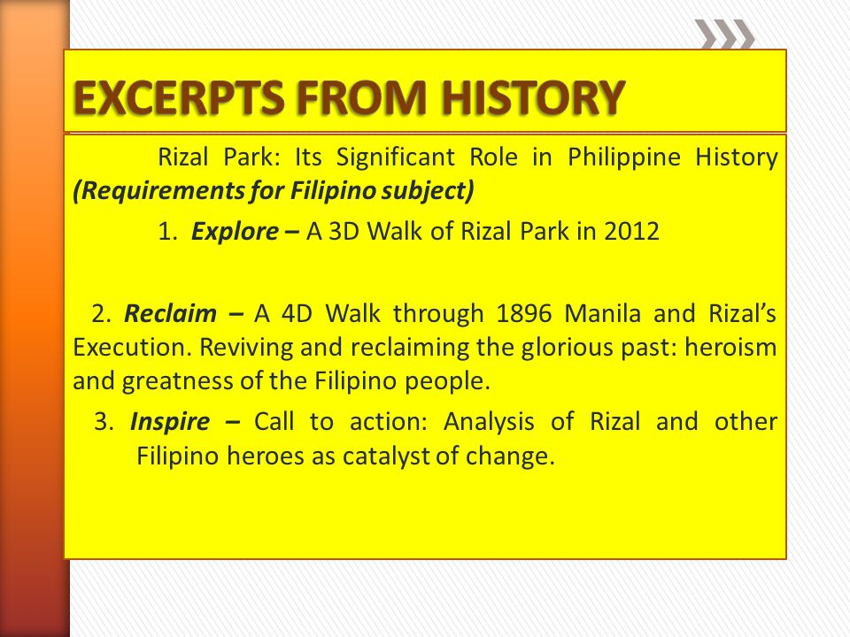 EXCERPTS FROM HISTORY Rizal Park: Its Significant Role in Philippine History (Requirements for Filipino subject)