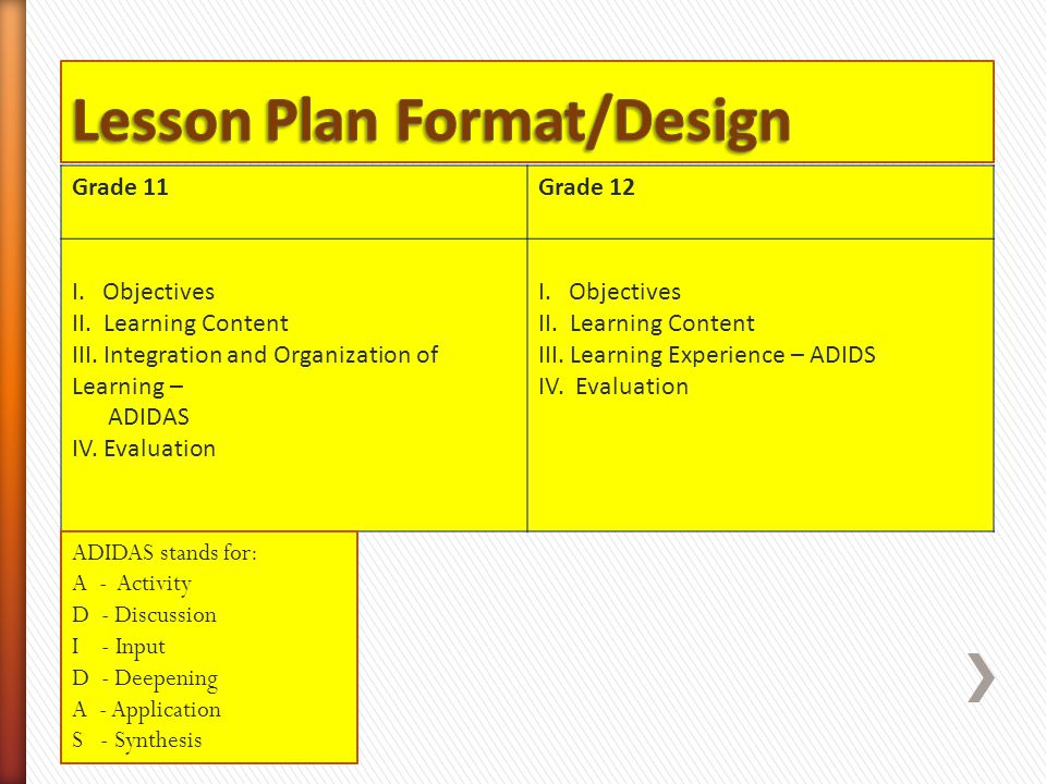 Lesson Plan Format/Design