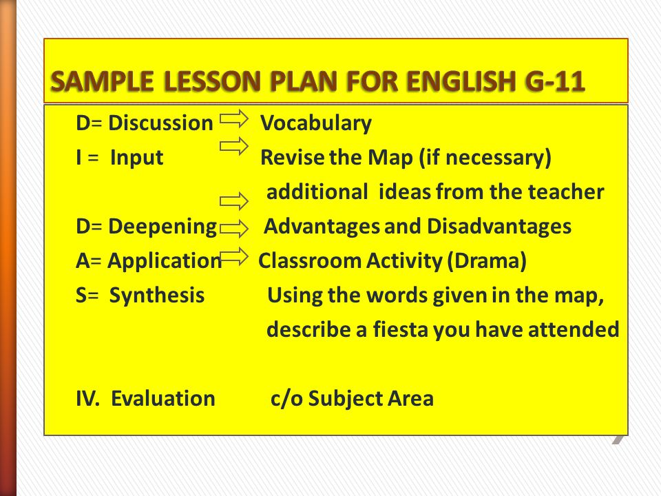 SAMPLE LESSON PLAN FOR ENGLISH G-11