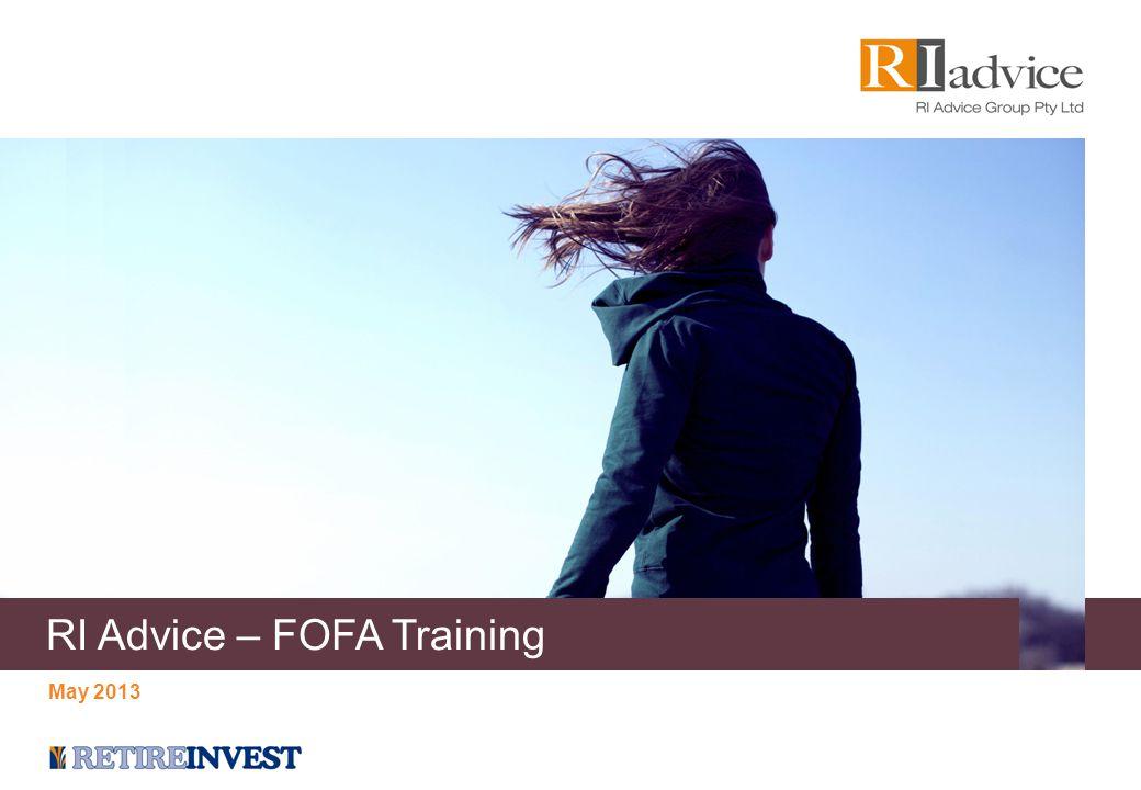 Agenda Introduction: RI FOFA Readiness & Advice Value Chain