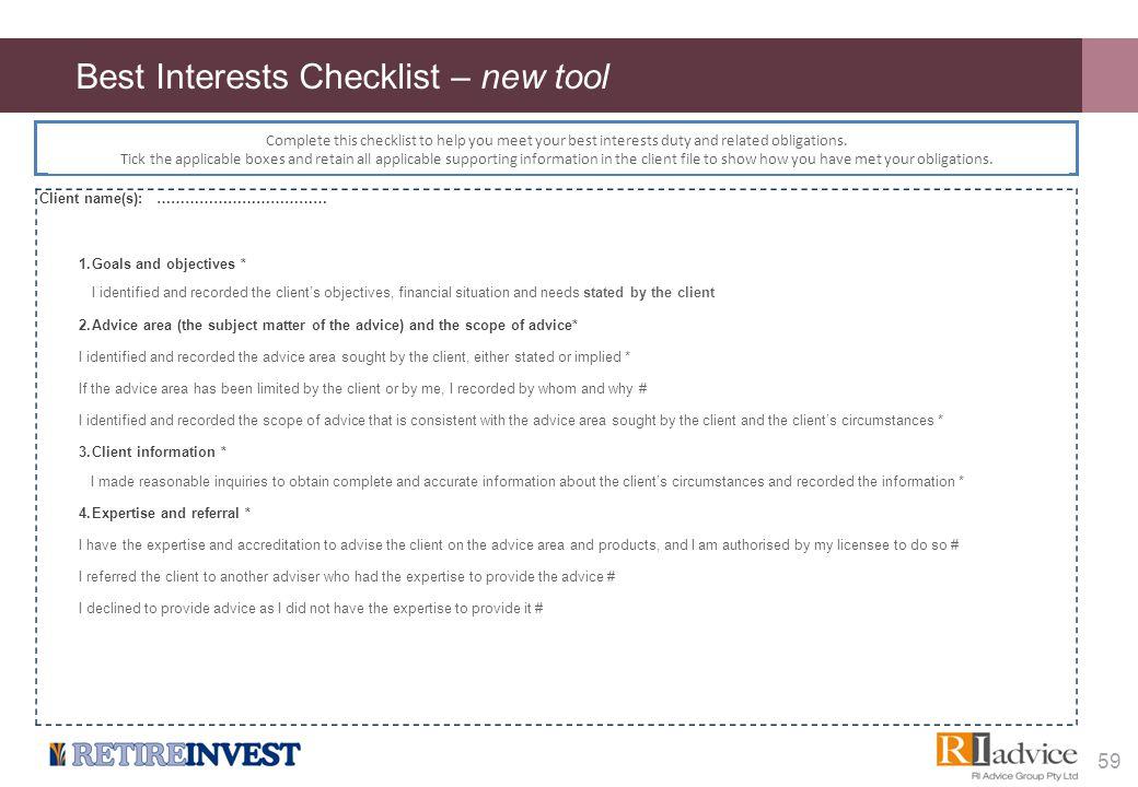 Best Interests Checklist – cont...