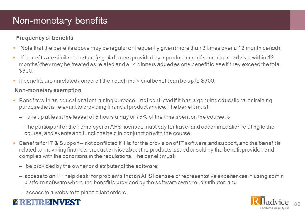 Non-monetary benefits