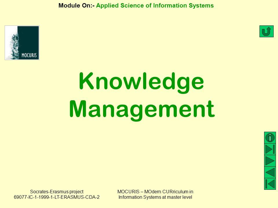 Knowledge Management MOCURIS – MOdern CURriculum in