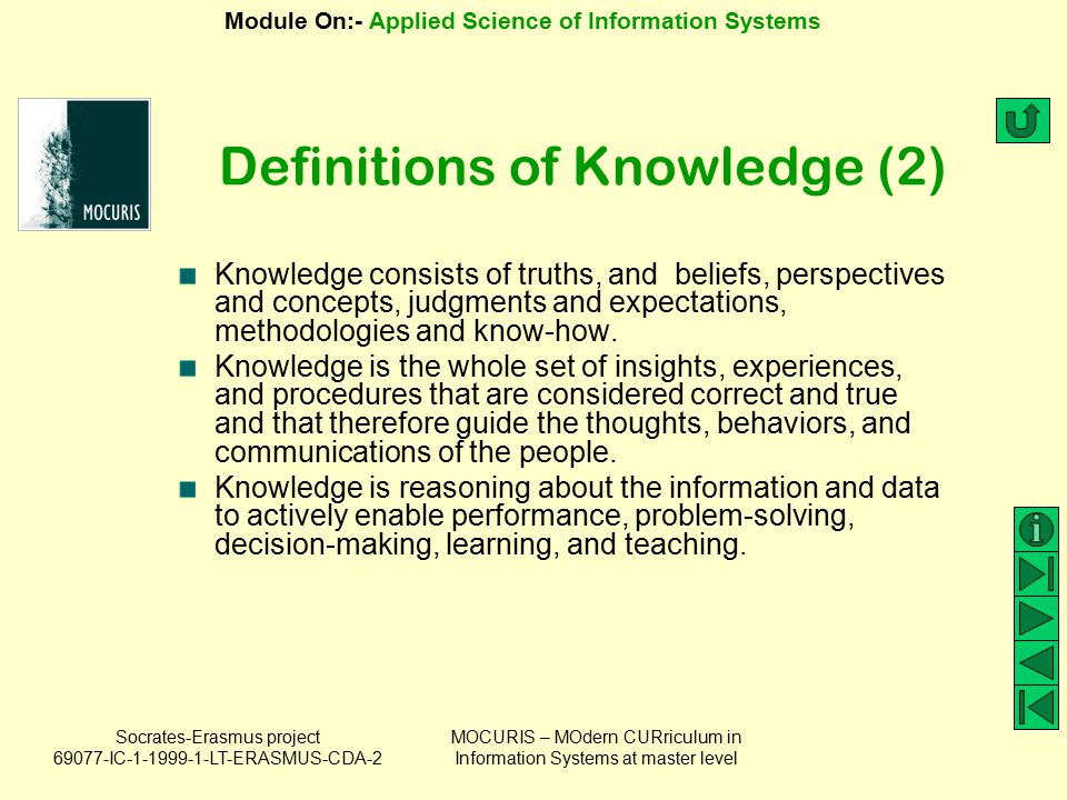 Definitions of Knowledge (2)