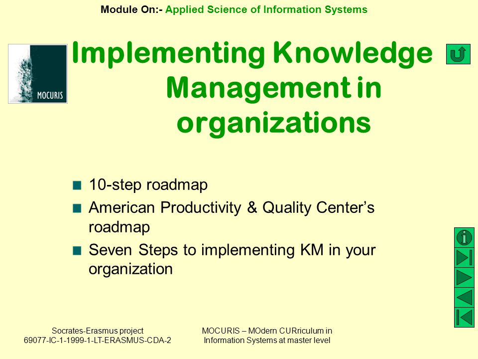Implementing Knowledge Management in organizations