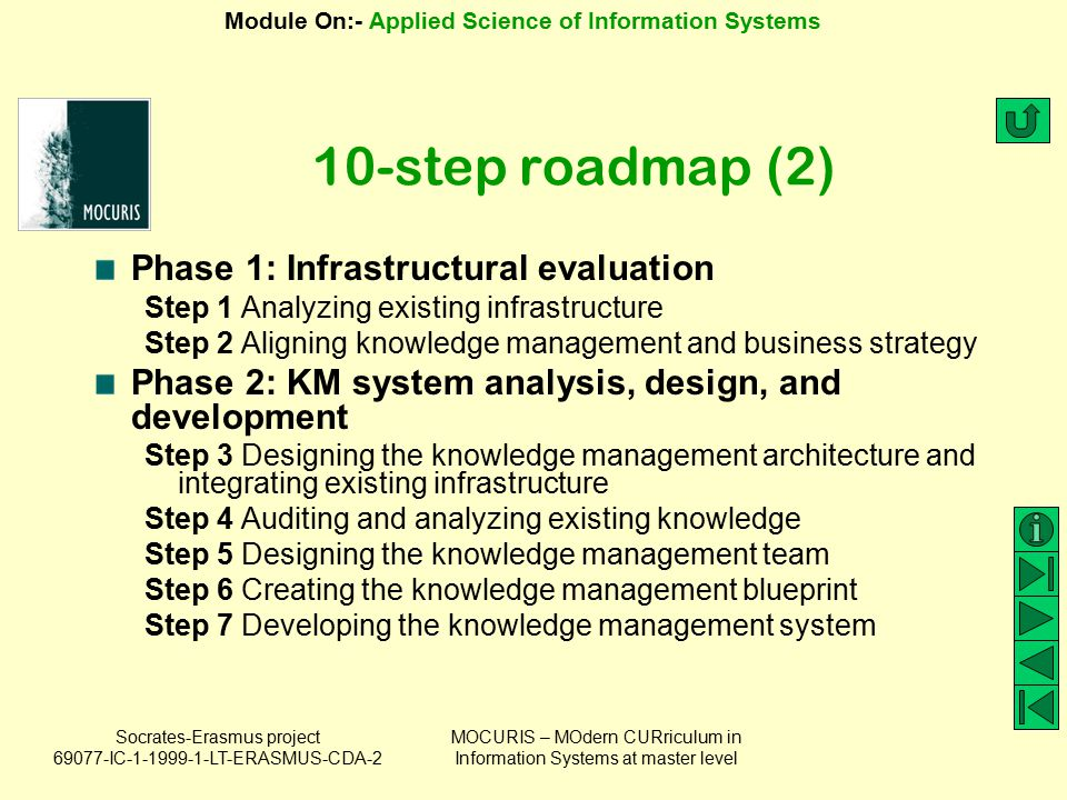 10-step roadmap (2) Phase 1: Infrastructural evaluation