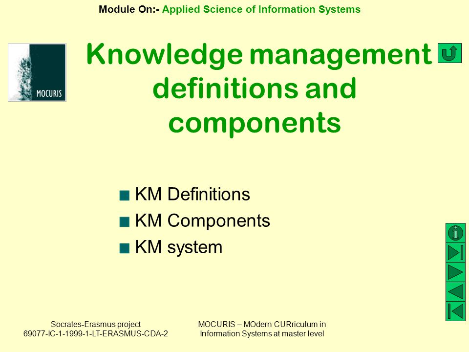 Knowledge management definitions and components