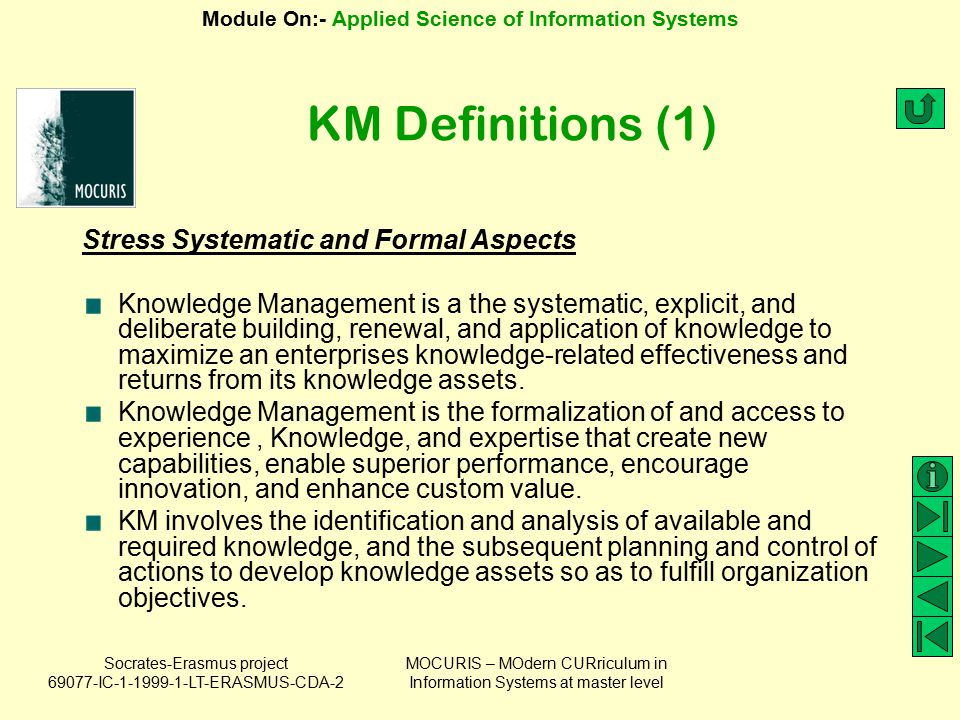 KM Definitions (1) Stress Systematic and Formal Aspects