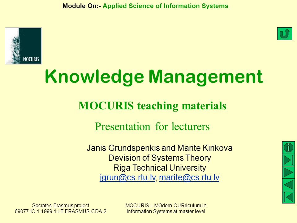 MOCURIS teaching materials