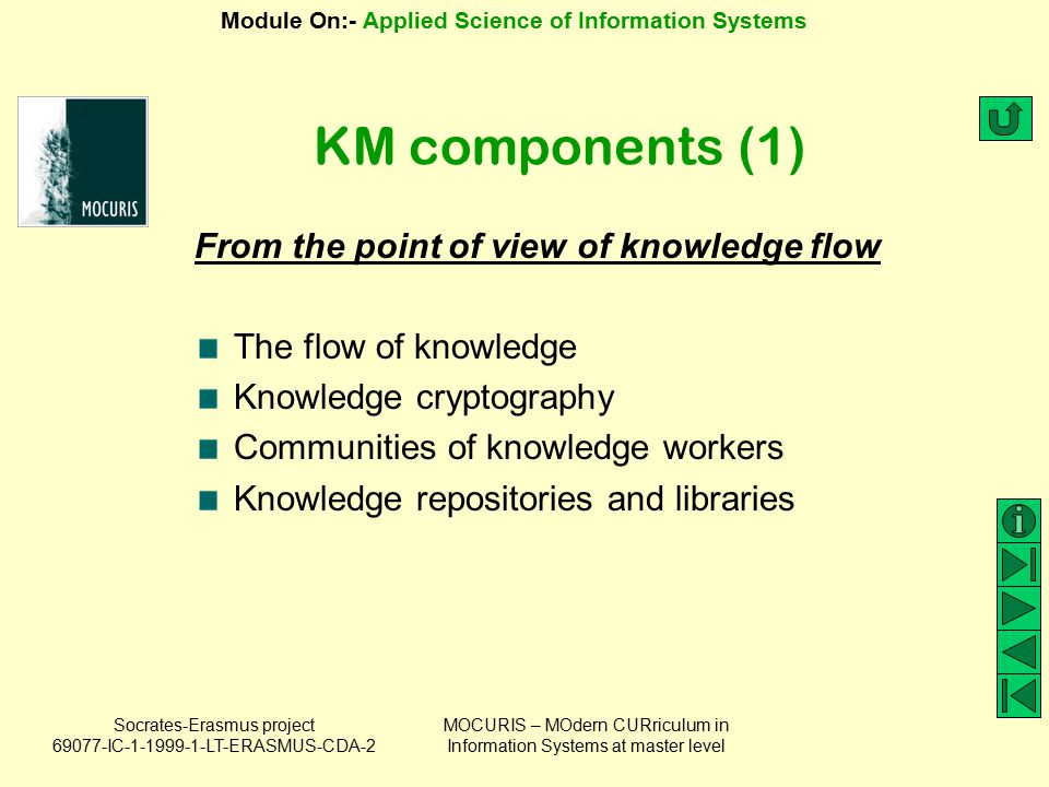 KM components (1) From the point of view of knowledge flow