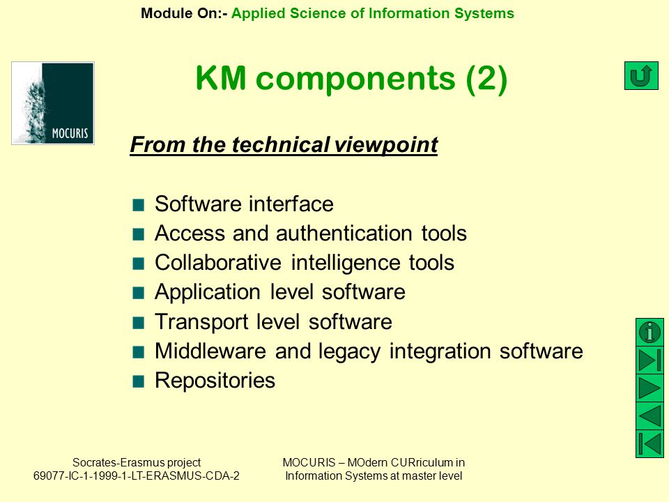 KM components (2) From the technical viewpoint Software interface